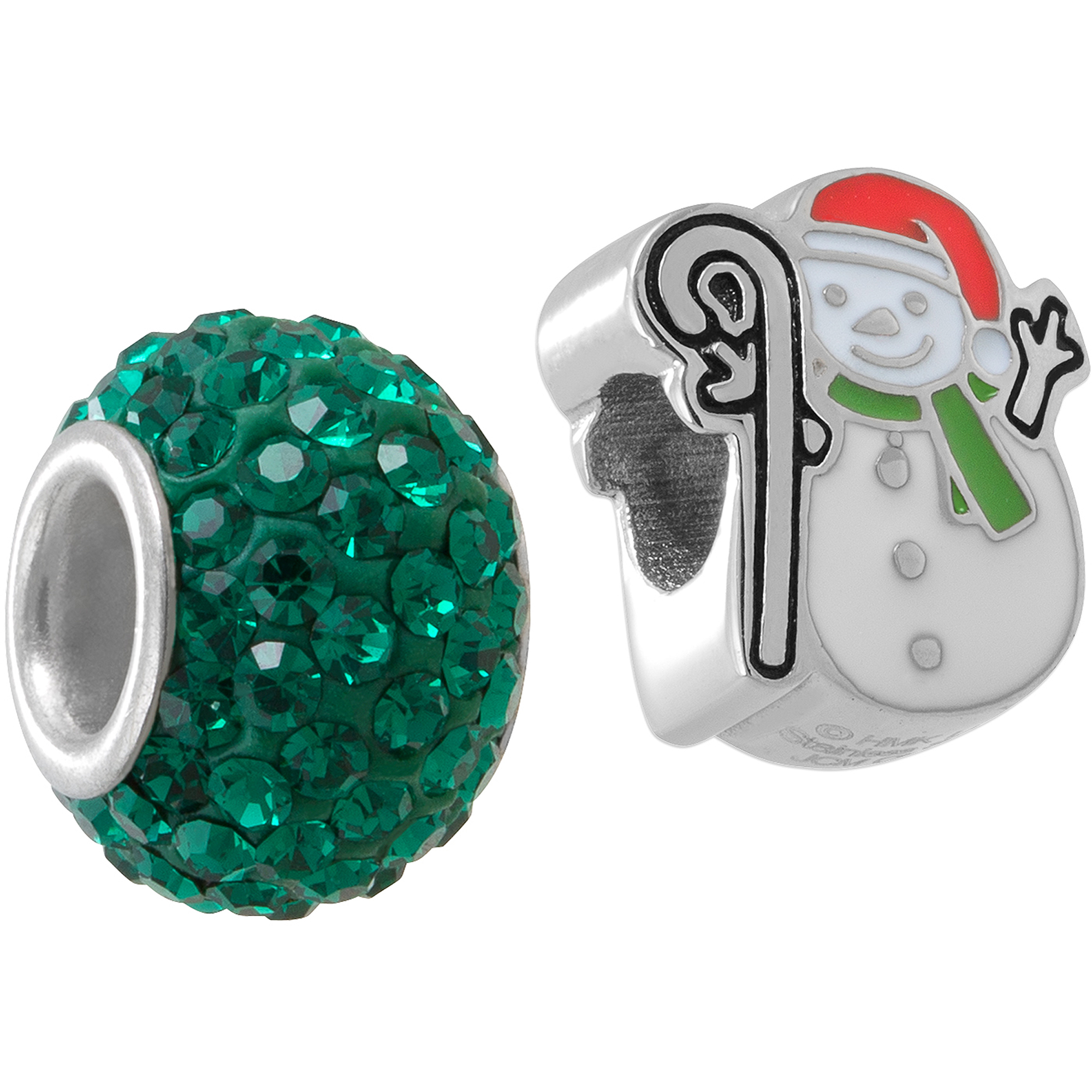 Connections from Hallmark Stainless Steel Snowman and Green Crystal Charm Set