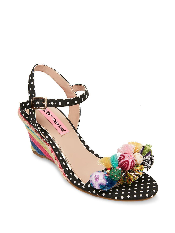 Pink Koko Polka Dot Wedge Sandals