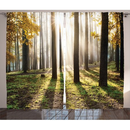 Farm House Decor Curtains 2 Panels Set, Landscape Sunrise In The Forest Leaves In Golden Colors Seasonal Scenery Photo, Living Room Bedroom Accessories, By (Forest Set)