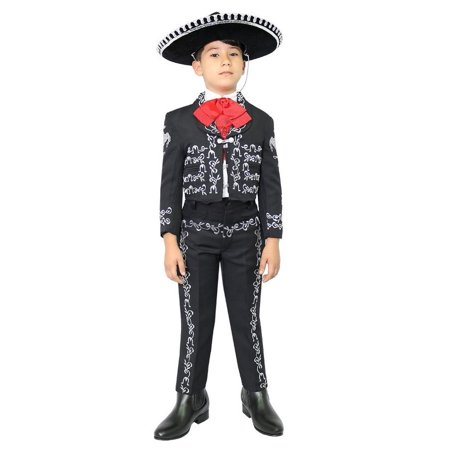 Boys Black Silver Embroidered Mariachi Pants Jacket Hat - Mariachi Outfits