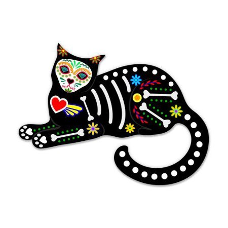 Sugar Skull Cat Sitting - Vinyl Sticker Waterproof Decal Sticker 5