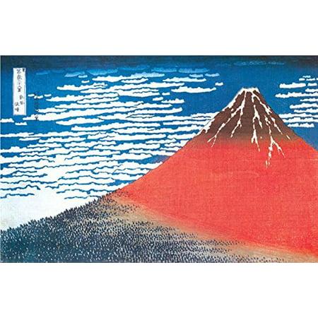 Mount Fuji  Clear Weather 1831 by Katsushika Hokusai 36x24   Red Fuji   Japanese Art Print Poster Japanese Block Print Painter Museum Masterpiece Famous