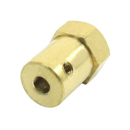 Gold Tone 4mm  Car Wheels Chassis DC Gear Motor Hex Coupling 4 Mm Main Chassis