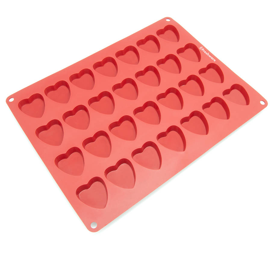 Freshware 28-Cavity Heart Silicone Mold for Chocolate, Candy, Gummy and Jelly, CB-109RD