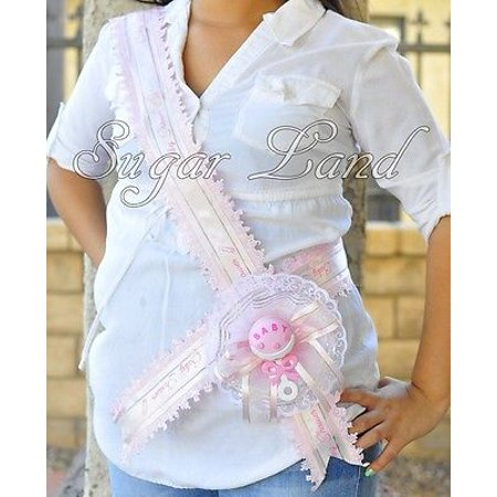 It's A Girl Sash Baby Shower Party Mother Mom To Be Pink Handmade Ribbon Favors