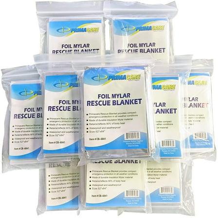 Primacare HB-10 Emergency Foil Mylar Thermal Blanket (Pack of 10)
