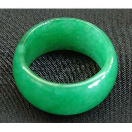 Jade Floral Band Ring - Chinese Jade Rings with Wide Band-size 8