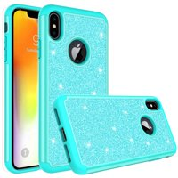 Apple iPhone Xs Max Case, Glitter Cute Phone Case[Screen Protector] Bling Diamond Rhinestone Bumper Silicone Sparkly Girls Women Teal