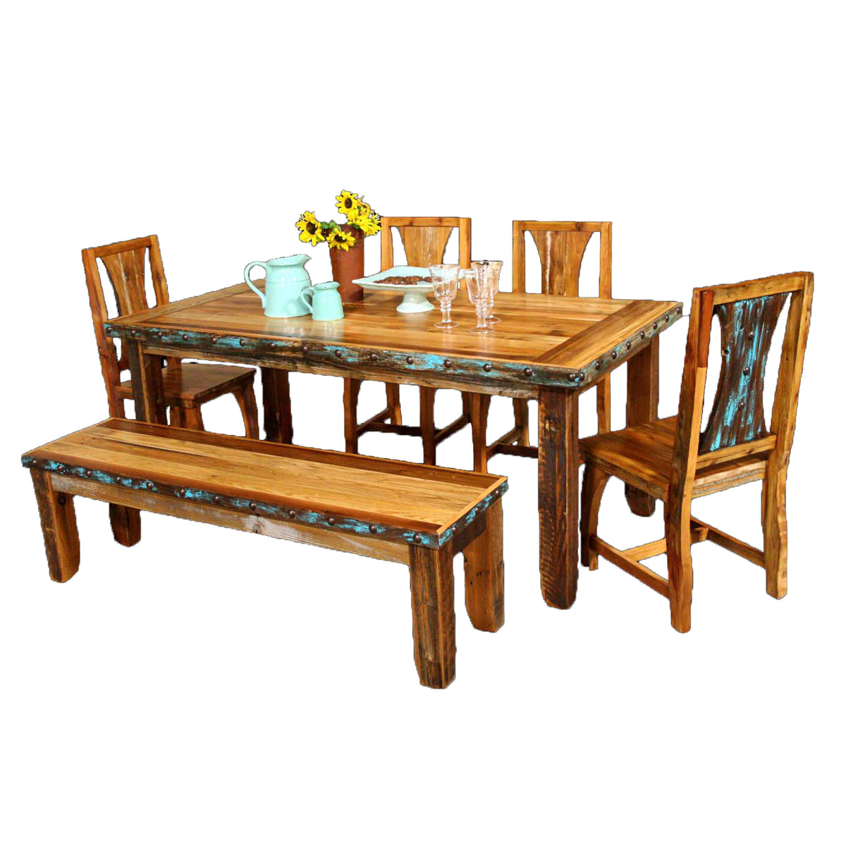 Barnwood Azul Table U0026 Western Chairs With Bench And Nailheads   6 Pcs    Southwestern Furniture