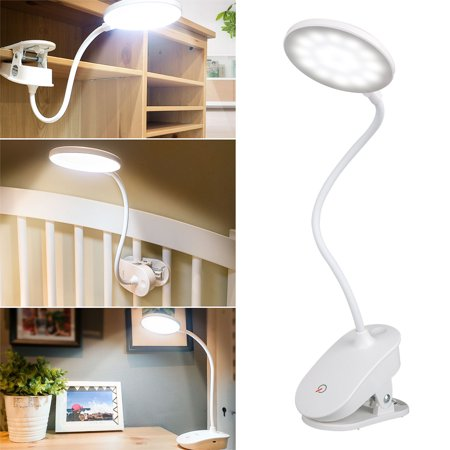 LED Desk Reading Lamp, TSV Eye-Caring Clamp Table Lamps, Dimmable Office Lamp with 3 Brightness, Touch Control, Clip-On Table light for Reading, Studying, Working, Perfect for Kids and Adults, White (Table Reading Lamps)
