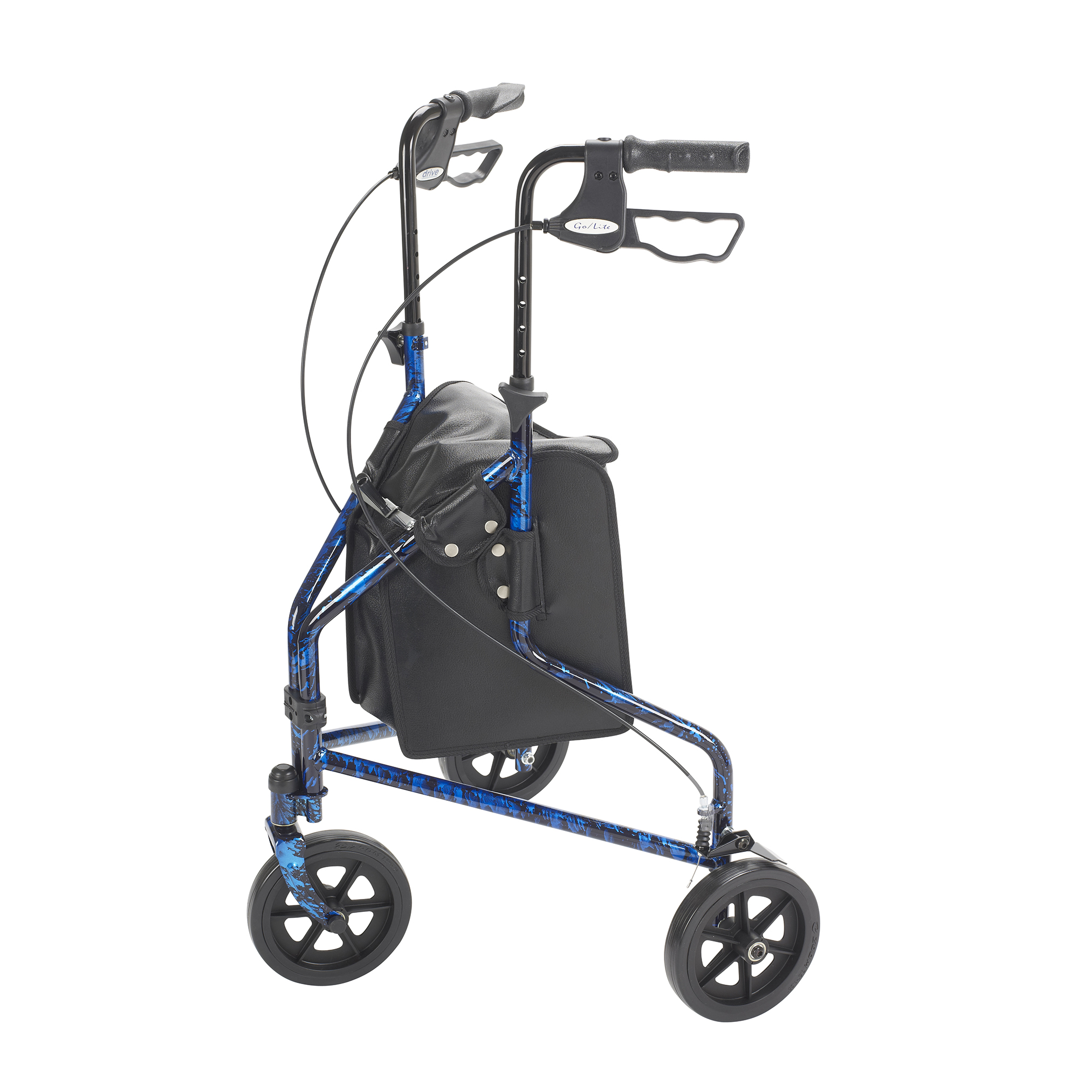 Drive Medical 3 Wheel Rollator Rolling Walker With Basket Tray And Pouch Flame Blue