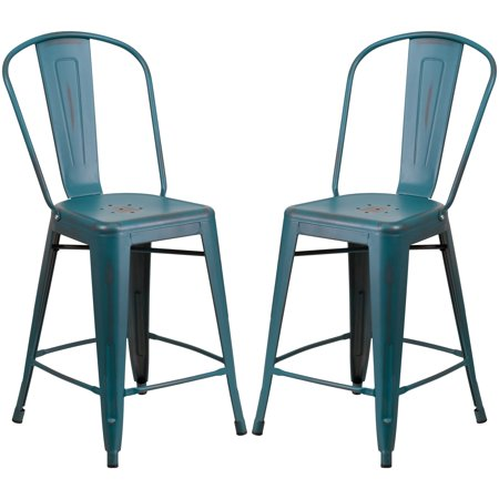 Magnificent A Line Furniture Distressed Blue Teal Metal Counter Height Stool Machost Co Dining Chair Design Ideas Machostcouk