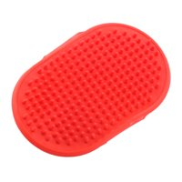 Unique Bargains Rubber Adjustable Belt Bath Massage Grooming Hair Brush Comb Red for Pet Dog Cat