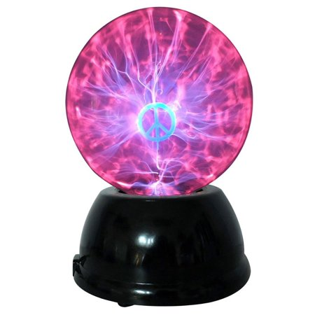 Lightahead  174  6  Plasma Ball Lamp With Peace Sign Globe Design   Touch   Sound Sensitive