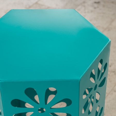 Ellison Outdoor 14 Inch Iron Floral Side Table, Teal
