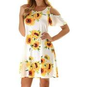 AKFashion Women's Plus Short Sleeve Cold Shoulder Round Neck Floral Dress