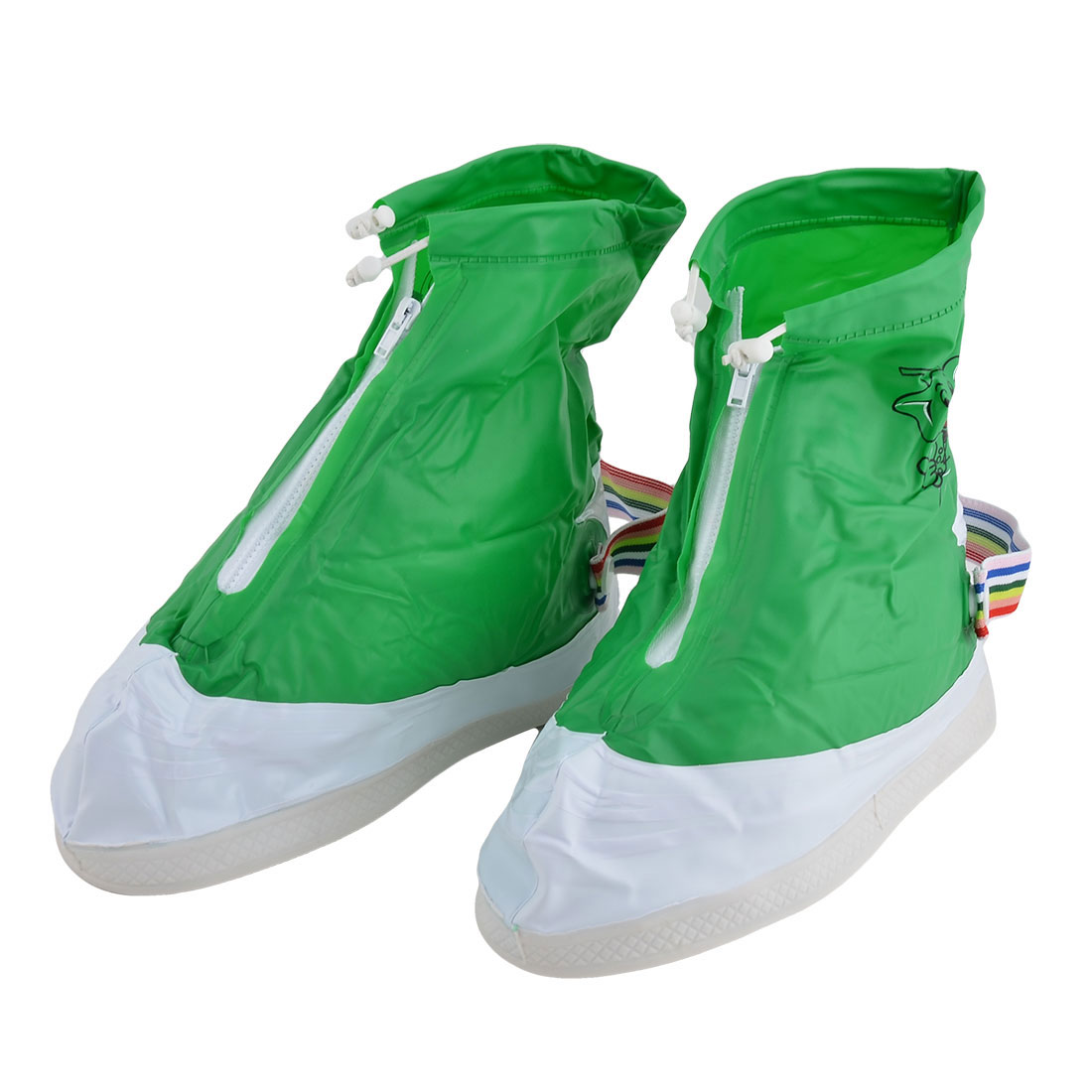 Lady PVC Elephant Pattern Water Mud Dirt Resistant Shoes Covers Green Pair US 9