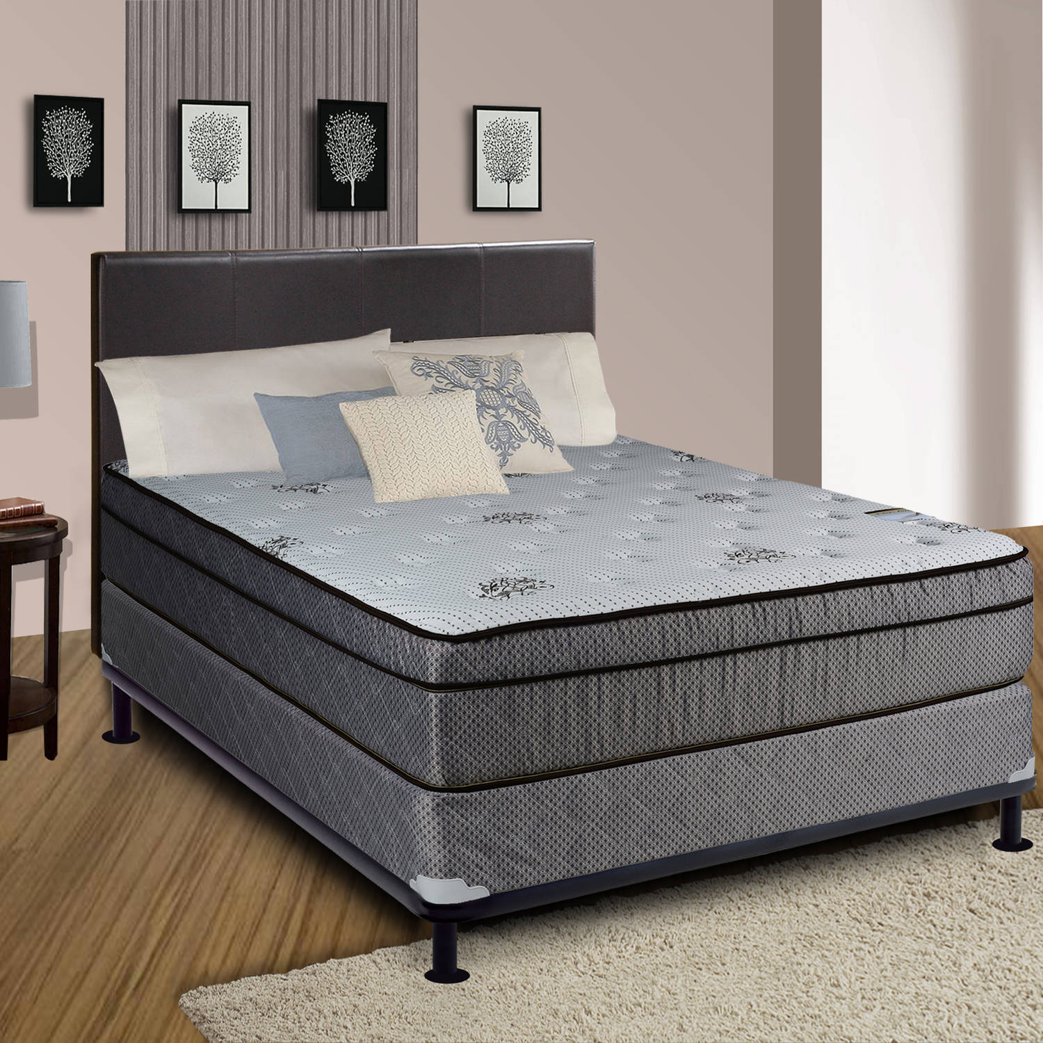 "Continental Sleep, 13"" Fully Assembled Foam Encased Soft Eurotop Innerspring Mattress Set with 8"" Box-Spring, Fifth Ave Collection, Twin Size"