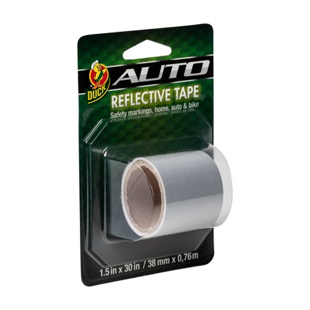 Duck Brand 896385 SelfAdhesive Reflective Tape, 1.5Inch x 30Inch Single Roll,
