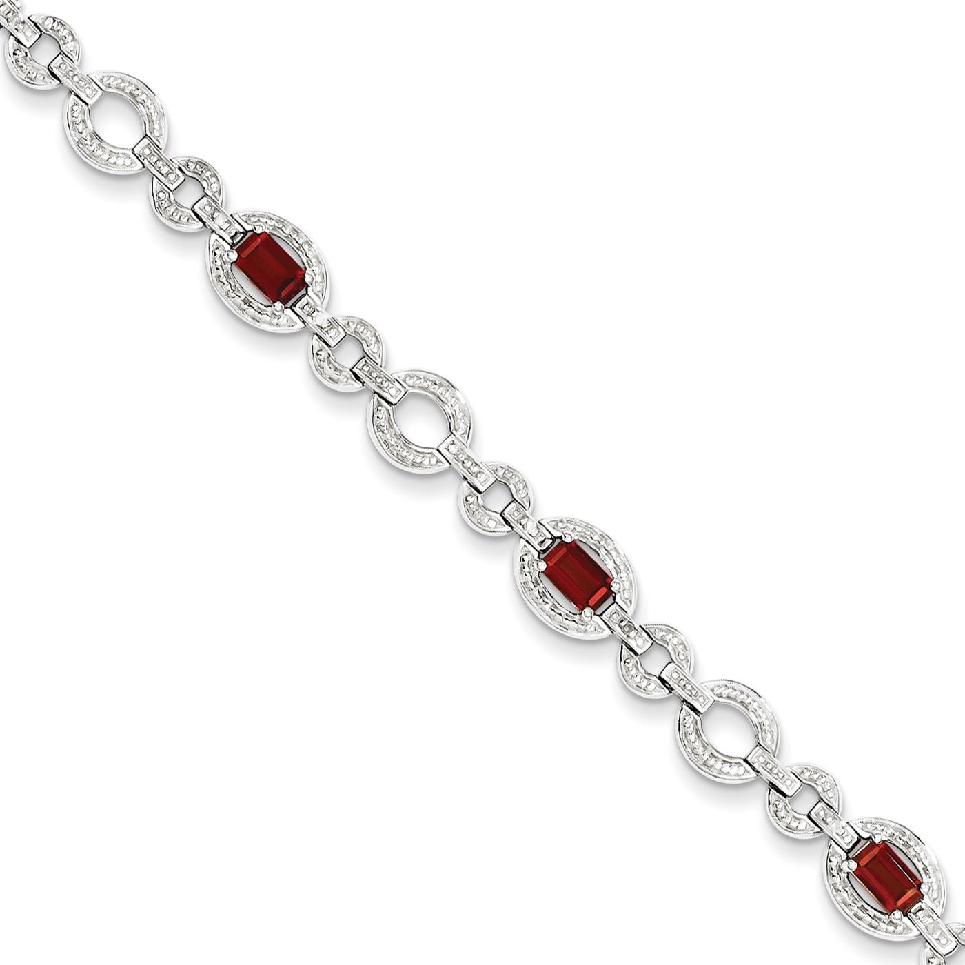 """New Ladies 925 SS 7mm Rhodium Finish Diamond & Garnet Oval Link Bracelet 7"""" by Fusion Collections"""