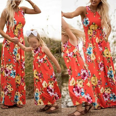 Mommy and Me Family Matching Dress Mother Daughter Floral Holiday Maxi Dress - Family Dress
