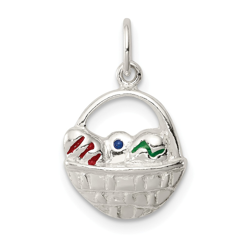 Sterling Silver Enameled Easter Basket Charm (0.7in long x 0.4in wide)