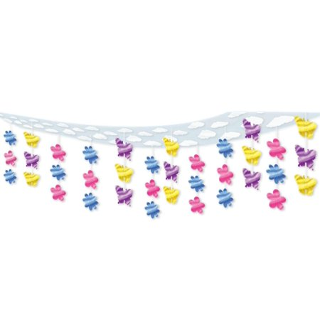 6 Colorful Butterfly and Flower Springtime Hanging Ceiling Party Decorations 12'