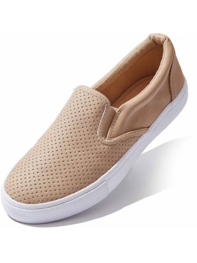 DailyShoes Tennis Shoes Women Low Top Slip On Flat Shoes Loafer Classic Sneakers Casual Comfort Driving Walking Flats Slip-on Loafers Camel,pu,10