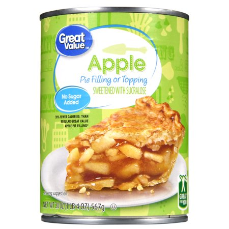 (4 Pack) Great Value Pie Filling or Topping, No Sugar Added, Apple, 20 oz