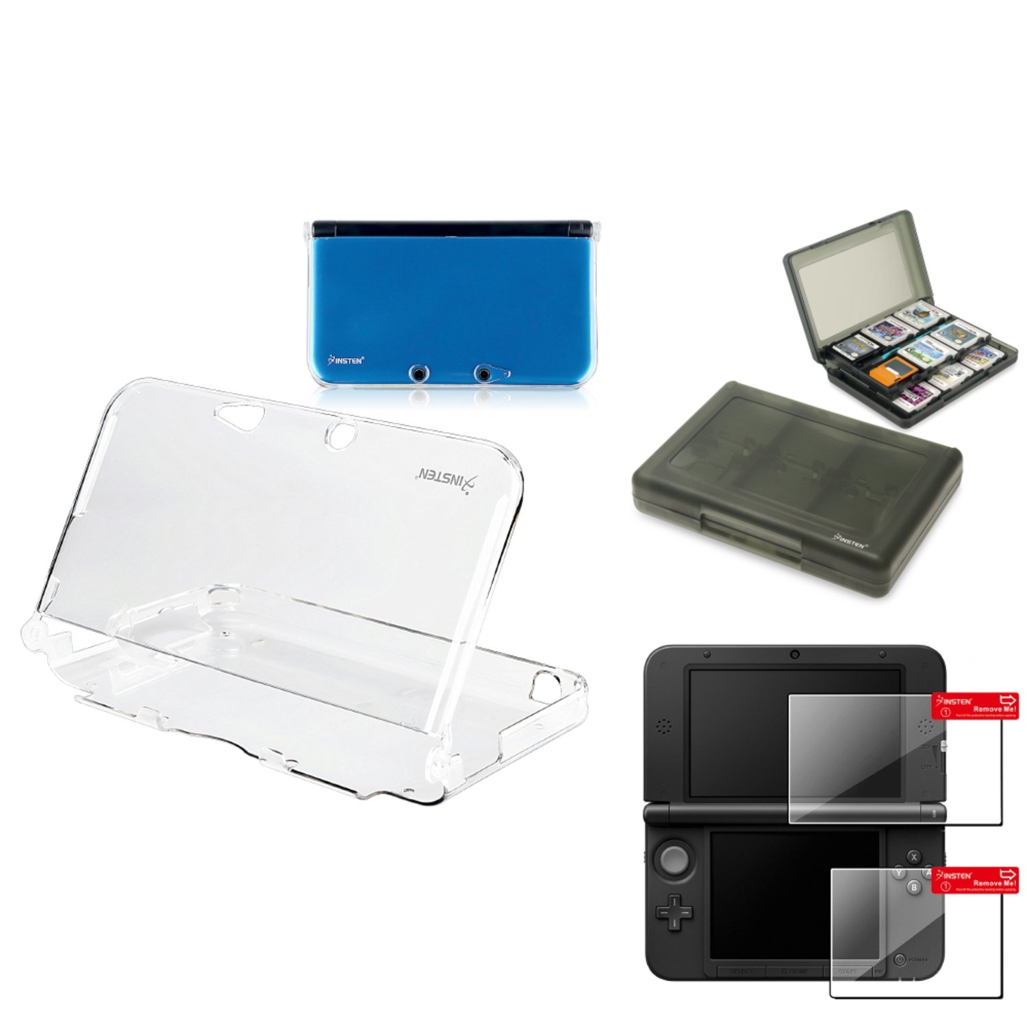 Insten Clear Crystal Case+Smoke 28in1 Card Case+2-LCD Screen Film For Nintendo 3DS XL