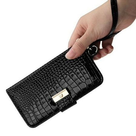 Insten Crocodile Stand Folio Flip Leather Wallet Flap Pouch Case Cover For Apple iPhone X XS 2017 - Black - image 7 de 8