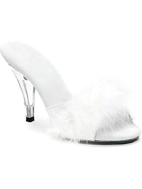 4c3c663891f6ea Product Image Womens 4 Inch Heels Faux Fur Strap Slide Sandal Shoe Sexy  Marabou Slippers