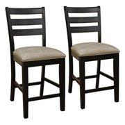 AHB Salma Slat Back Counter Height Chairs - Black - Set of 2