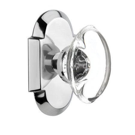 Nostalgic Warehouse Oval Clear Crystal Glass Single Dummy Door Knob with Cottage Plate