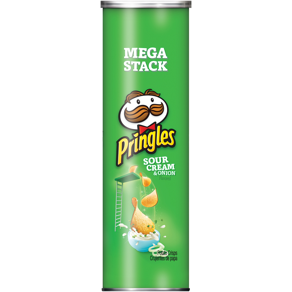 Pringles Potato Crisps Chips Mega Stack, Sour Cream & Onion, 7.1 Oz