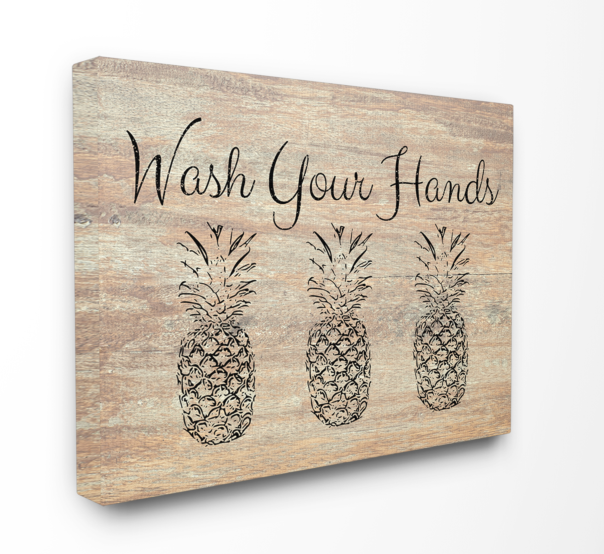 The Stupell Home Decor Collection Wash Your Hands Pineapple Oversized Stretched Canvas Wall Art, 24 x 1.5 x 30