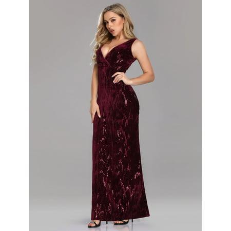 Ever-Pretty Women's Vintage Velvet Sequin Long Formal Evening Party Dresses for Women 07506 US - Vintage Velvet Suit