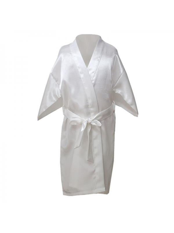 Baby Boys Girls Solid Silk Satin Kimono Robes Bathrobe Toddler Kid Sleepwear Clothes