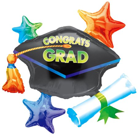 Anagram Congrats Grad Cap School Colors Cluster SuperShape 31in Foil Balloon - Tiny Graduation Cap
