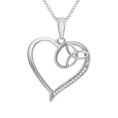 14k Gold Diamond Love Knot - Natural Diamond Accent Heart with Celtic Trinity Knot Pendant Necklace in 14k White Gold Over Sterling Silver