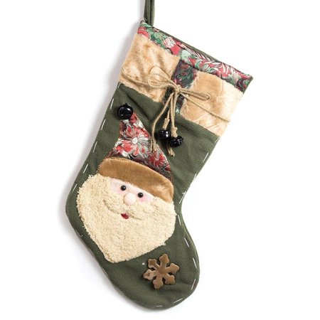Jingle Stocking - Imperial Home Classic Christmas Stocking Polyester 19-inch Embroidered Santa Clause Stocking with Jingle Bells