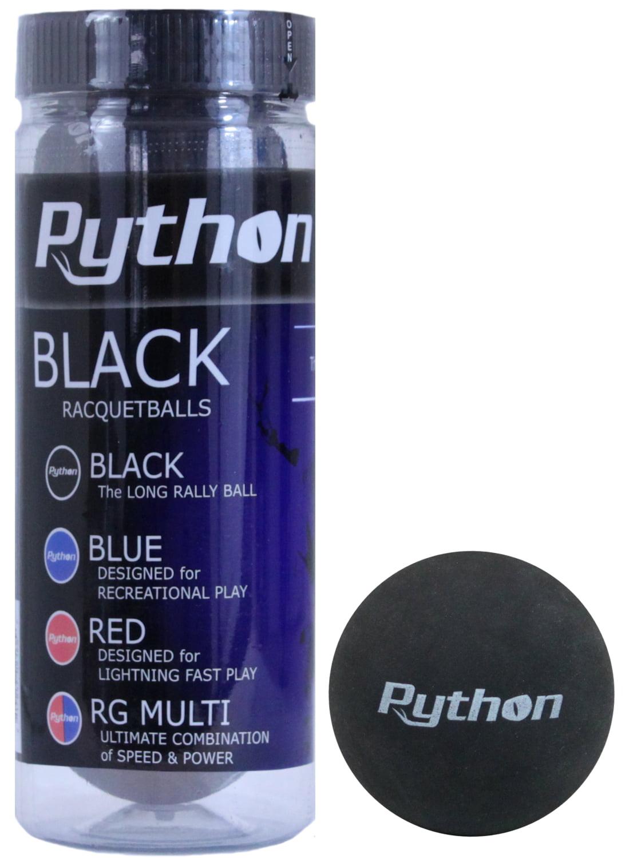 Python 3 Ball Can Black Racquetballs (Long Rally Ball!) by
