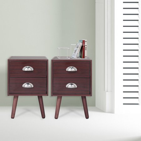 Lowestbest Bedside Table, Solid Wood Legs Nightstand with 2 Storage Drawer, Brown (2Pcs)