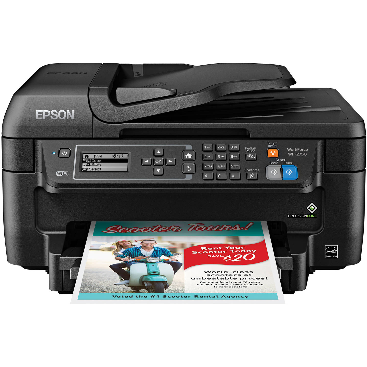 Epson WorkForce WF-2750 All-in-One Wireless Color Printer Copier Scanner Fax Machine by Epson