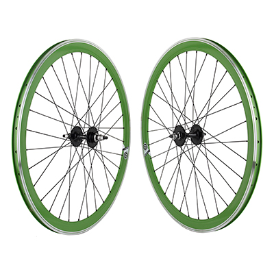 Origin8 700c Wheelset 42mm Green MSW 32 Origin8 Fx/Fw Black