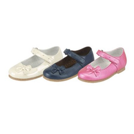 Ivory Navy Fuchsia Patent Mary Jane Bow Toddler Little Girls Shoes 5-2