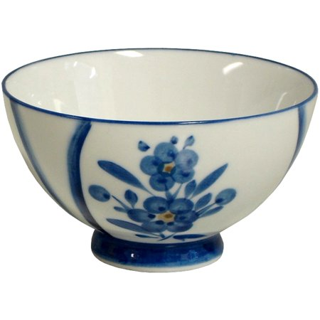 Blue & White Floral Footed Asian Soup Rice Bowl Set of 6