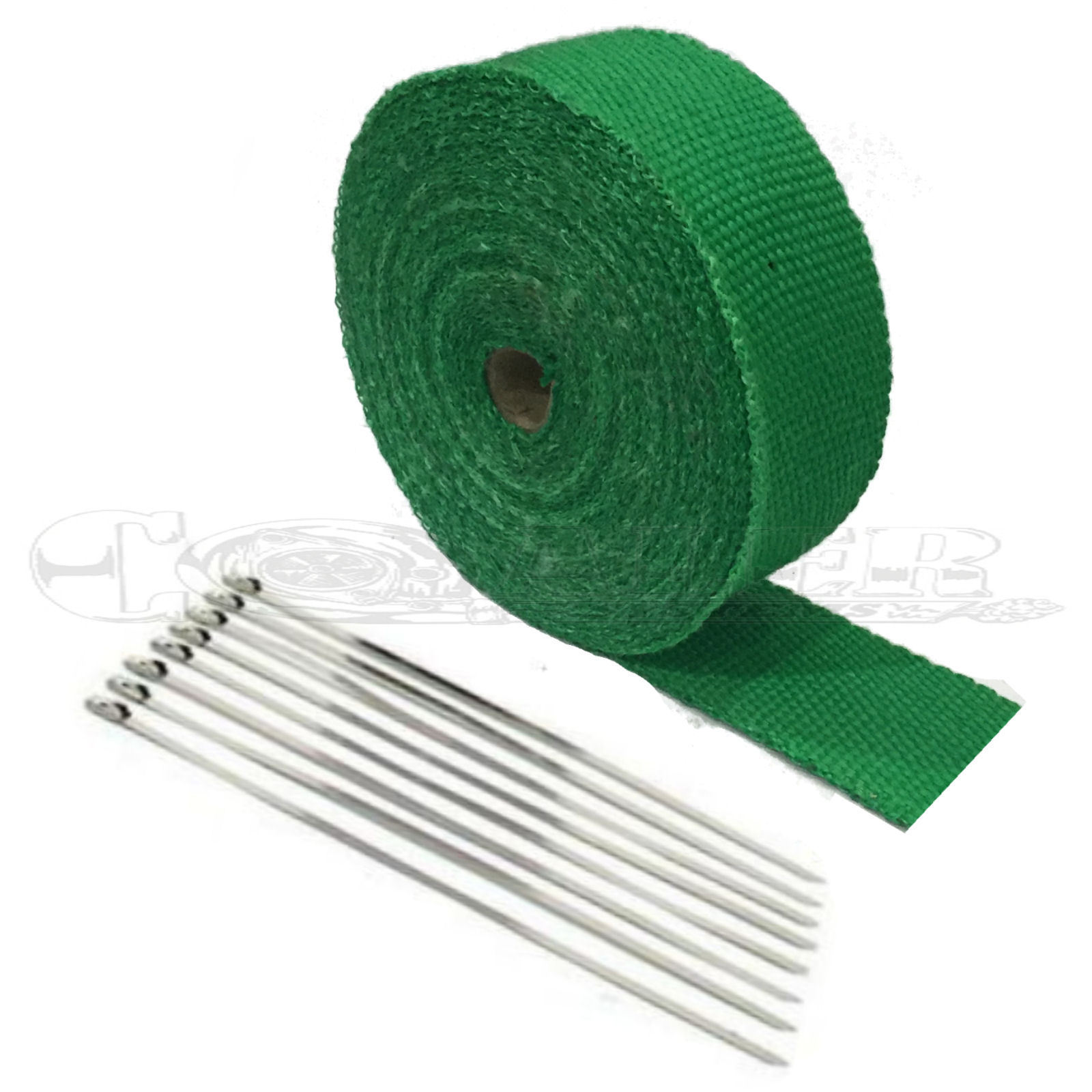 "Harley 2"" x 50' Motorcycle Protection Header Exhaust Heat Wrap – Green"
