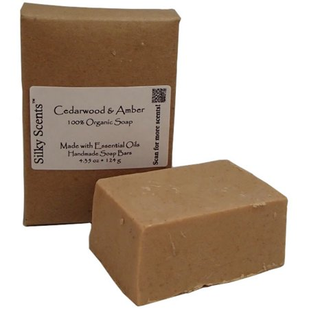 Silky Scents Cedarwood Organic Soap Bar - Handmade with 100% Pure Essential Oils, 4.3 oz