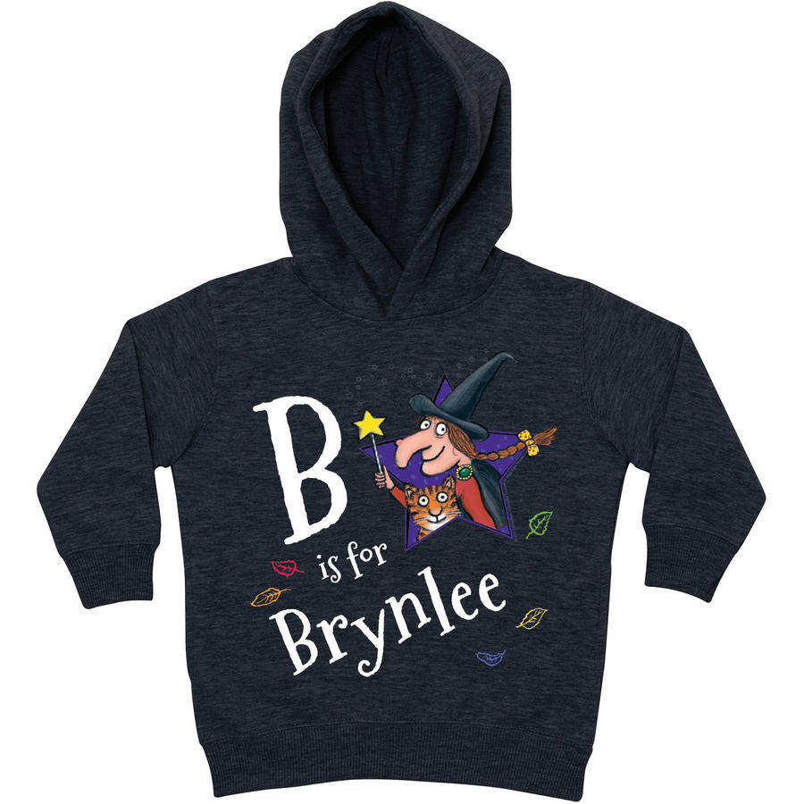 Personalized Room on the Broom Initial Charcoal Toddler Hoodie